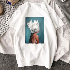Feather Print T-shirt / L