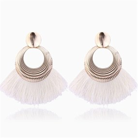 Fan Shaped Earrings - white