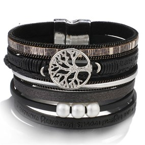 Multi Row Family Tree Bracelet - black