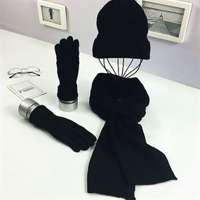 3 in 1 Knitted Hat Scarf & Gloves Set - black