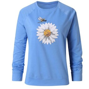 Daisy Long Sleeve T-Shirt/XL - blue