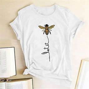Bee Print T-shirt/white - XL