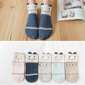 5 Pairs - Cute Kitty Ankle Socks